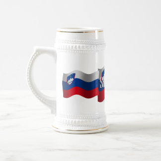 Bandera que agita de Eslovenia Jarra De Cerveza