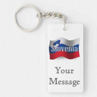 Bandera que agita de Eslovenia Llavero Rectangular Acrílico A Doble Cara