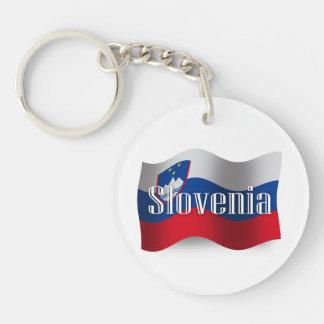 Bandera que agita de Eslovenia Llavero Redondo Acrílico A Doble Cara