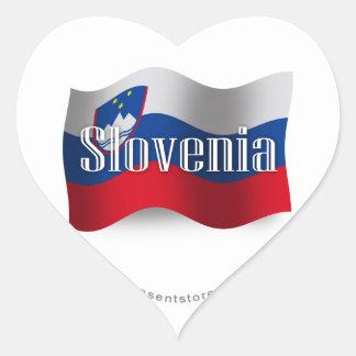Bandera que agita de Eslovenia Pegatina En Forma De Corazón