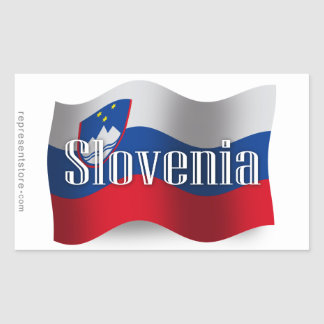 Bandera que agita de Eslovenia Pegatina Rectangular