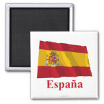 Bandera que agita de España con nombre en español Imanes