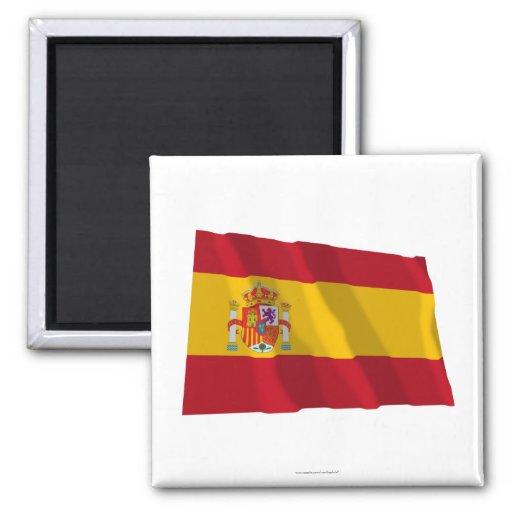 Bandera que agita de España Imanes Para Frigoríficos