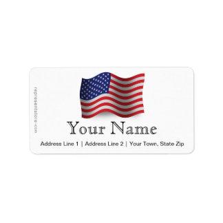 Bandera que agita de Estados Unidos Etiqueta De Dirección