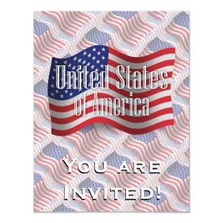 """Bandera que agita de Estados Unidos Invitación 4.25"""" X 5.5"""""""