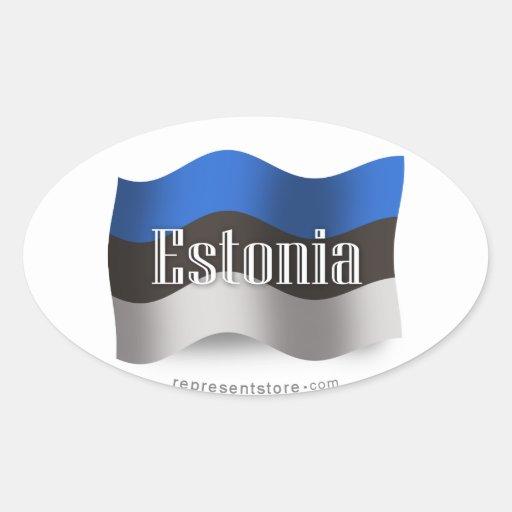 Bandera que agita de Estonia Colcomanias Oval Personalizadas