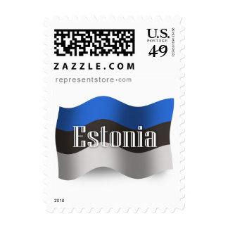 Bandera que agita de Estonia Sellos