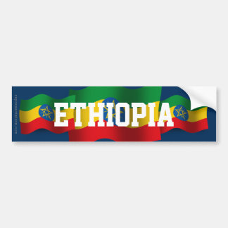Bandera que agita de Etiopía Etiqueta De Parachoque