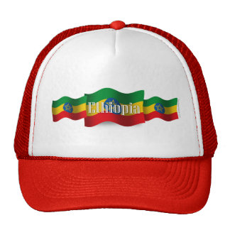 Bandera que agita de Etiopía Gorras