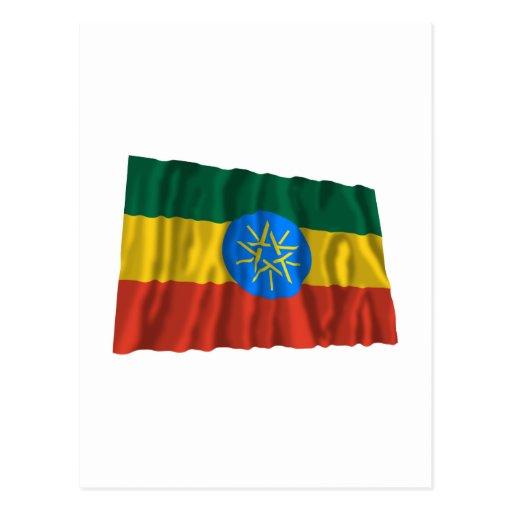 Bandera que agita de Etiopía Postales