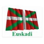 Bandera que agita de Euskadi (País Vasco) con Tarjeta Postal