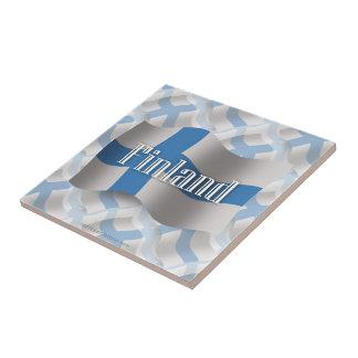 Bandera que agita de Finlandia Azulejo Cuadrado Pequeño