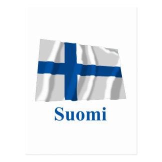 Bandera que agita de Finlandia con nombre en finés Postal