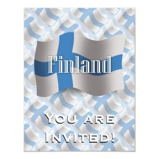 """Bandera que agita de Finlandia Invitación 4.25"""" X 5.5"""""""