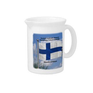 Bandera que agita de Finlandia Jarrón