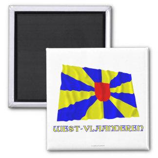 Bandera que agita de Flandes Occidental con nombre Imán Cuadrado