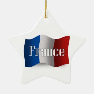 Bandera que agita de Francia Adornos