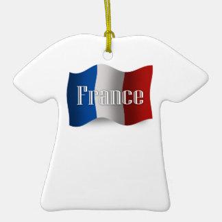 Bandera que agita de Francia Ornamentos De Navidad