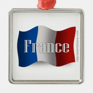 Bandera que agita de Francia Adorno De Navidad