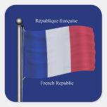 Bandera que agita de Francia Colcomanias Cuadradases