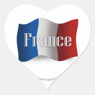 Bandera que agita de Francia Pegatina En Forma De Corazón