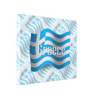 Bandera que agita de Grecia Impresión En Lienzo