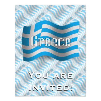 """Bandera que agita de Grecia Invitación 4.25"""" X 5.5"""""""