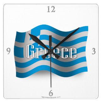 Bandera que agita de Grecia Reloj Cuadrado
