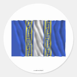 Bandera que agita de Haute-Marne Pegatina Redonda