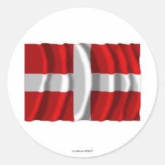 Bandera que agita de Haute-Saboya Pegatina Redonda