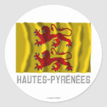 Bandera que agita de Hautes-Pyrénées con nombre Pegatina