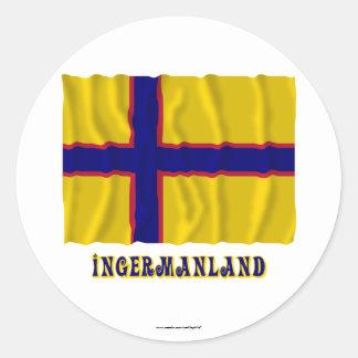 Bandera que agita de Ingermanland con nombre Etiqueta Redonda
