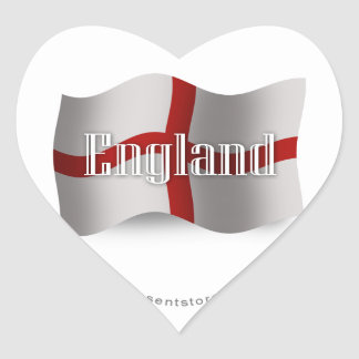 Bandera que agita de Inglaterra Pegatina En Forma De Corazón