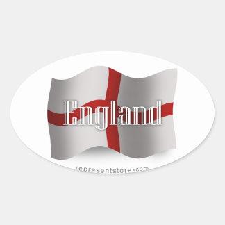 Bandera que agita de Inglaterra Pegatina Ovalada