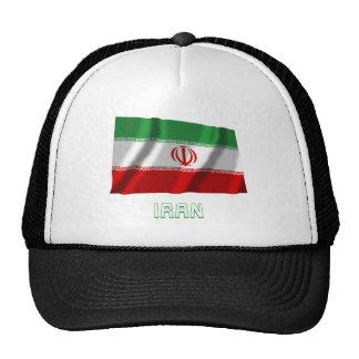 Bandera que agita de Irán con nombre Gorros Bordados