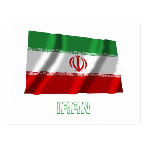 Bandera que agita de Irán con nombre Postal