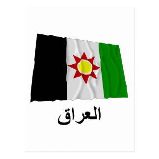Bandera que agita de Iraq con nombre en árabe Postal