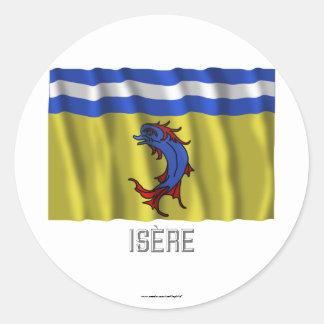 Bandera que agita de Isère con nombre Pegatina Redonda