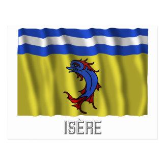 Bandera que agita de Isère con nombre Tarjeta Postal