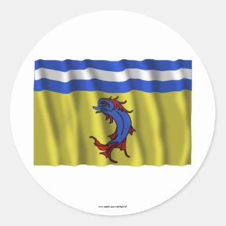 Bandera que agita de Isère Etiquetas Redondas