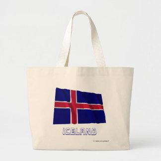 Bandera que agita de Islandia con nombre Bolsas Lienzo