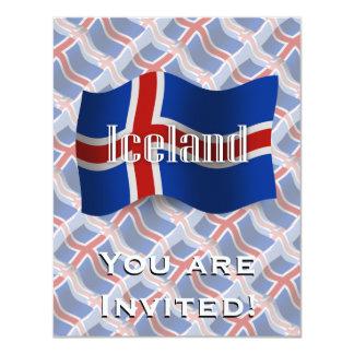 """Bandera que agita de Islandia Invitación 4.25"""" X 5.5"""""""