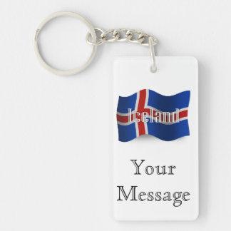 Bandera que agita de Islandia Llavero Rectangular Acrílico A Doble Cara