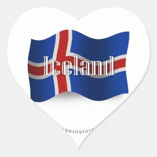 Bandera que agita de Islandia Pegatina En Forma De Corazón