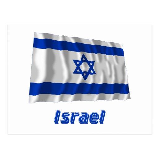 Bandera que agita de Israel con nombre Postal