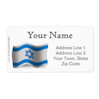 Bandera que agita de Israel Etiqueta De Envío