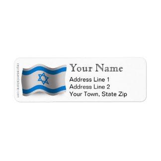 Bandera que agita de Israel Etiquetas De Remite