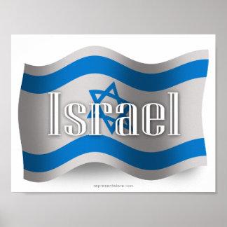 Bandera que agita de Israel Póster