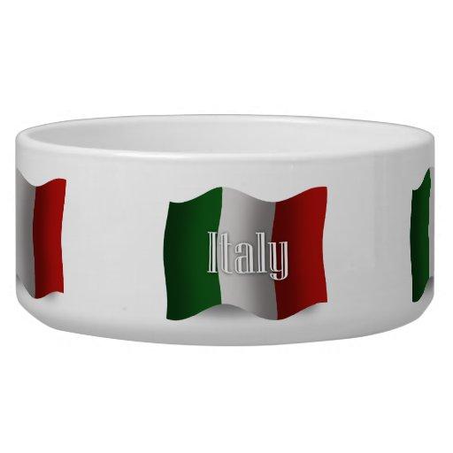 Bandera que agita de Italia Bol Para Perro