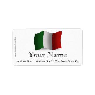 Bandera que agita de Italia Etiquetas De Dirección